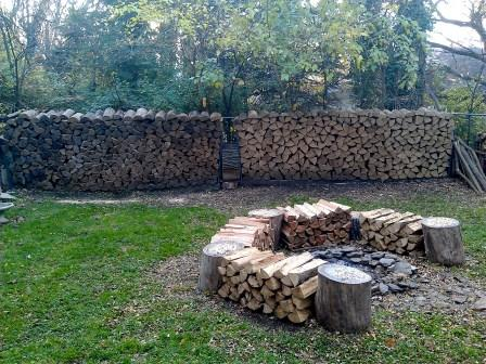 Two rows of firewood, totalling exactly a cord