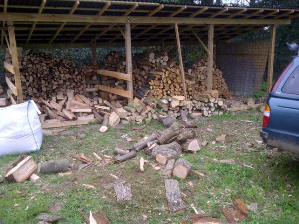 Our wood shed - when full it will hold 12 cords of firewood. Enough for 3 winters.