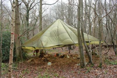 Parachute Shelter - plenty of space to work and even light a fire